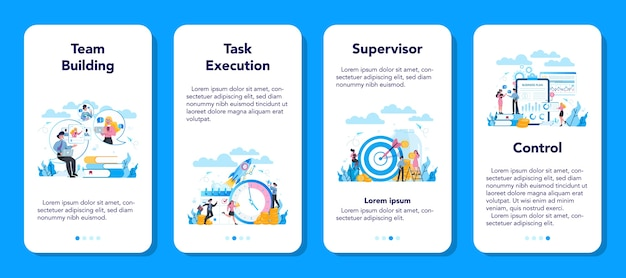 Ensemble de bannière d'application mobile superviseur manager