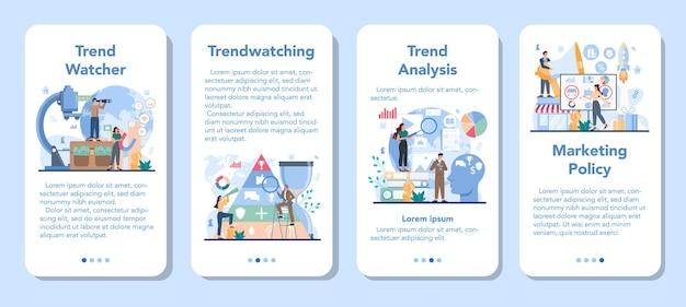 Ensemble de bannière d'application mobile trendwatcher