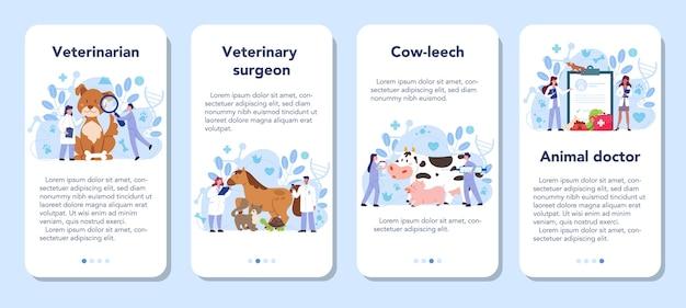 Ensemble de bannière d'application mobile vétérinaire pour animaux de compagnie