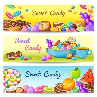 Ensemble de bannière de bonbons sucrés