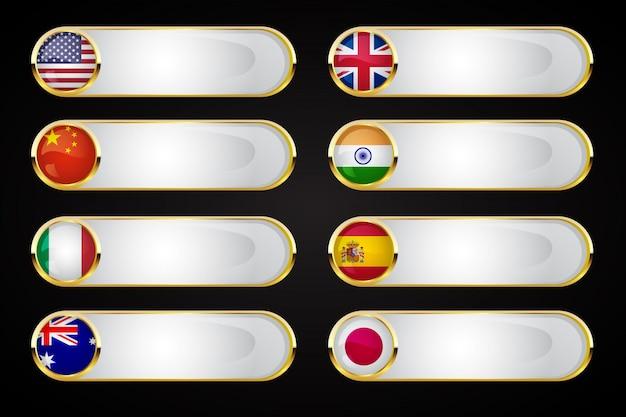 Ensemble de bannière de bouton golden flags