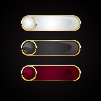 Ensemble de bannière de boutons dorés