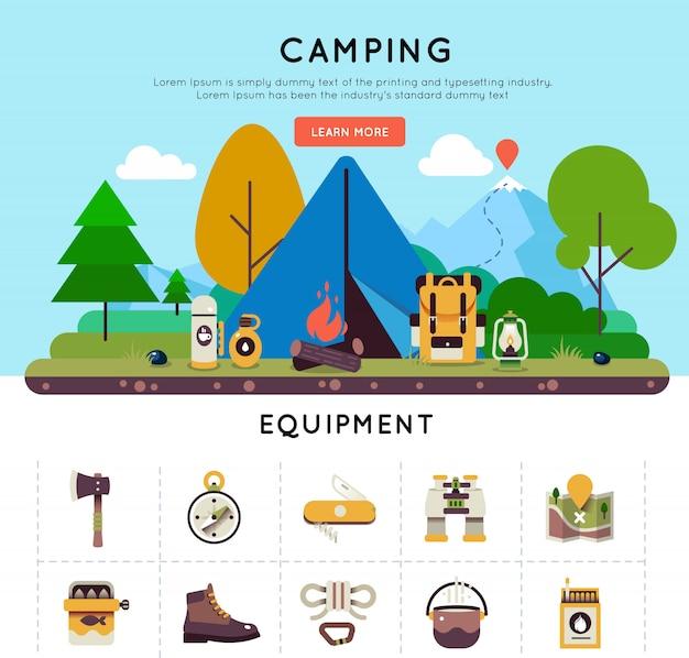 Ensemble de bannière de camping