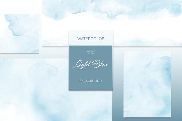 Ensemble de bannière et carte de tache aquarelle bleu clair