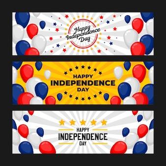 Ensemble de bannière de célébration de la fête de l'indépendance