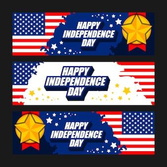 Ensemble de bannière de célébration de joyeux jour de l'indépendance