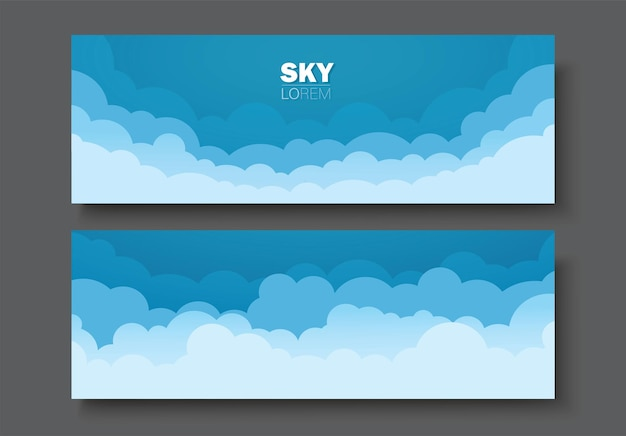 Ensemble de bannière ciel et nuages