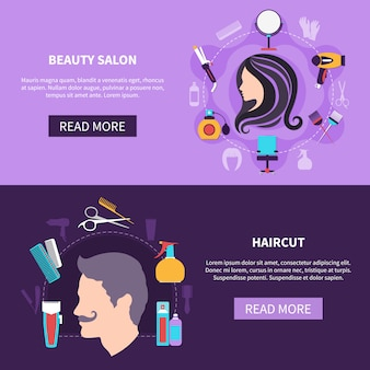 Ensemble de bannière de coiffeur