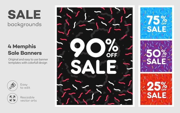 Ensemble de bannière colorée moderne dans le style de memphis. grande vente. remise spéciale.
