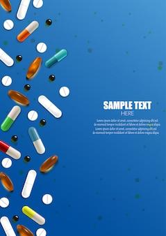 Ensemble de bannière colorée de pilules et capsules