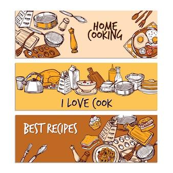 Ensemble de bannière de couleur de croquis de cuisson