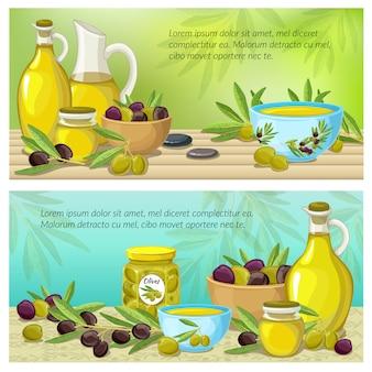 Ensemble de bannière de couleur olive