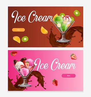 Ensemble de bannière de crème glacée aux fruits naturels