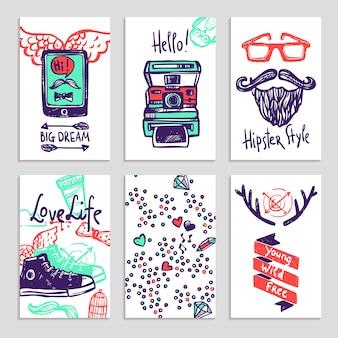 Ensemble de bannière de croquis de hipster