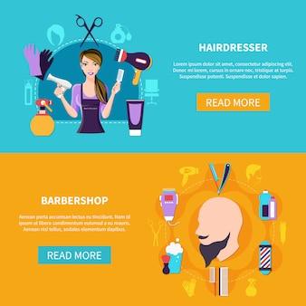 Ensemble de bannière deux coiffeur