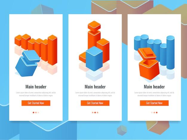 Ensemble de bannière avec diagramme à barres colorées et diagramme, statistiques de l'analyse et de l'information d'entreprise