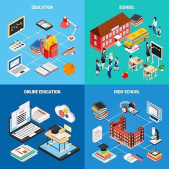 Ensemble de bannière d'éducation en ligne