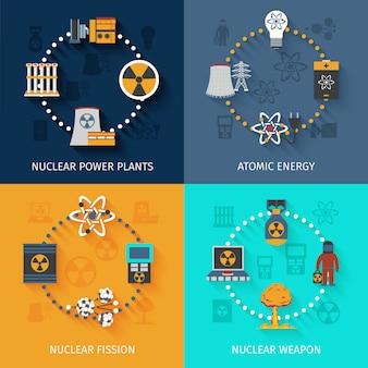 Ensemble de bannière d'énergie nucléaire