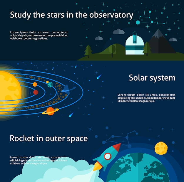 Ensemble de bannière espace et univers