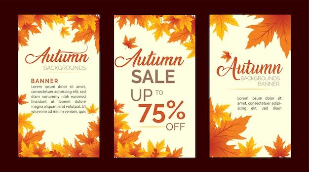 Ensemble de bannière de feuilles d'automne