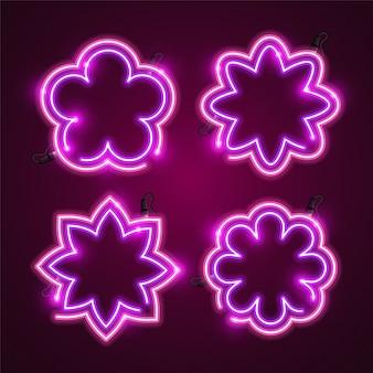 Ensemble de bannière de fleurs au néon.