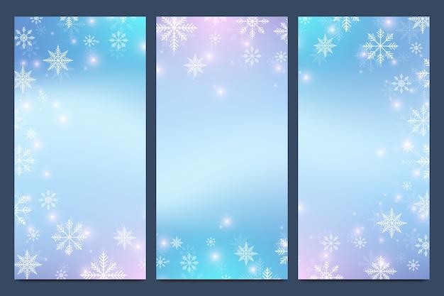 Ensemble de bannière de flocons de neige et étoiles