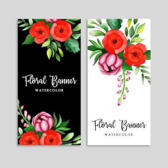 Ensemble de bannière floral aquarelle