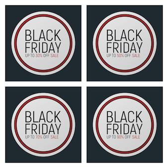 Ensemble de bannière et flyer événement vendredi noir concept, texte de police de dégagement de grande vente étiquette de promotion de clôture de publicité de conception, journée de shopping de saison