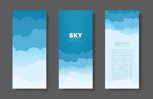 Ensemble de bannière de fond ciel et nuages