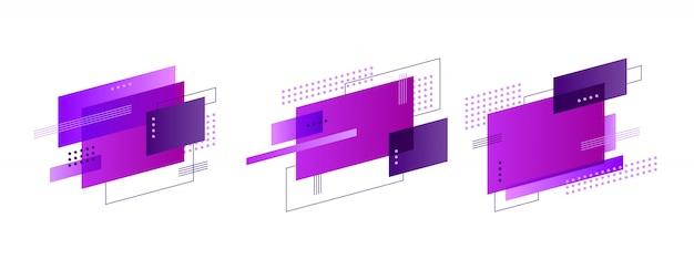 Ensemble de bannière de formes abstraites colorées