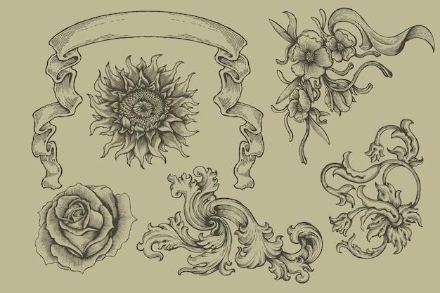 Ensemble de bannière de gravure et floral