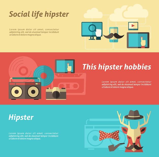 Ensemble de bannière hipster