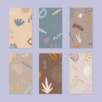 Ensemble de bannière d'histoire abstraite. motif naturel dessiné à la main dans un style branché.