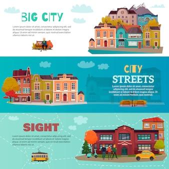Ensemble de bannière horizontale de bâtiments de ville