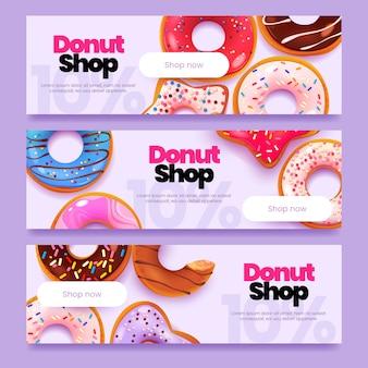 Ensemble de bannière horizontale de beignets de dessin animé
