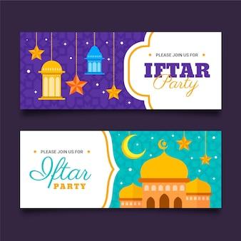 Ensemble de bannière horizontale iftar plat