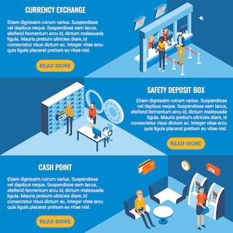 Ensemble de bannière horizontale isométrique plate de services bancaires