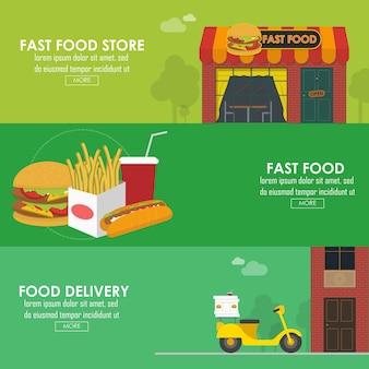 Ensemble de bannière horizontale de livraison de nourriture. illustration vectorielle