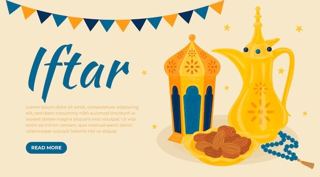 Ensemble de bannière iftar dessiné à la main