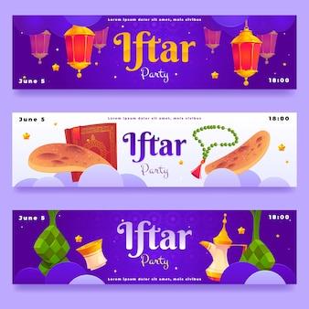 Ensemble de bannière iftar plat