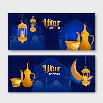 Ensemble de bannière iftar réaliste