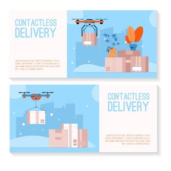 Ensemble de bannière d'illustration du concept de livraison sans contact