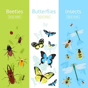 Ensemble de bannière d'insectes