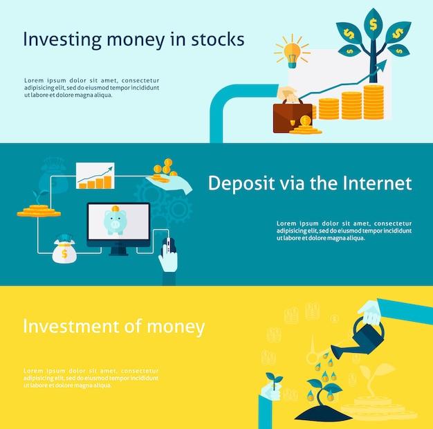 Ensemble de bannière d'investissement