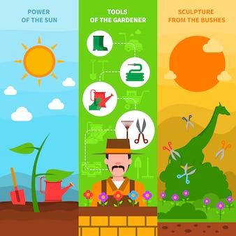 Ensemble de bannière de jardinage