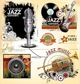 Ensemble de bannière jazz
