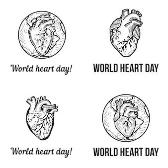 Ensemble de bannière de jour de coeur
