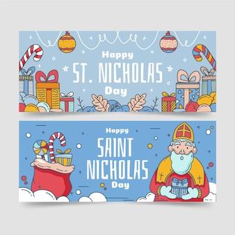 Ensemble de bannière de jour de saint nicolas dessiné
