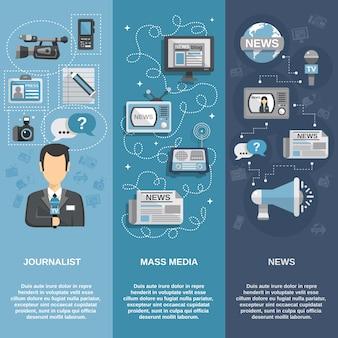 Ensemble de bannière de journaliste
