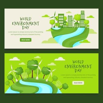 Ensemble de bannière de la journée de l'environnement du monde plat organique